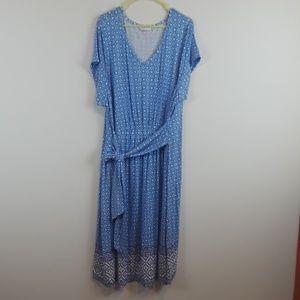 Isaac Mizrahi Tile Border Print Knit Dress plus sz